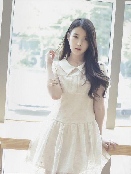 Tags: K-Pop, IU, Window, Leaning Back, Hand In Hair, White Dress, K-pop For Aera, Magazine Scan, Android/iPhone Wallpaper