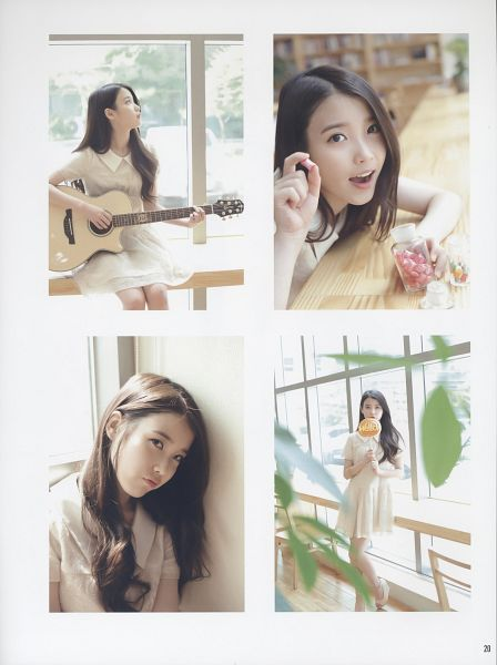 Tags: K-Pop, IU, Playing Instrument, White Outfit, White Dress, Looking Up, Guitar, Android/iPhone Wallpaper, K-pop For Aera, Magazine Scan