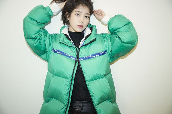 Tags: K-Pop, IU, Green Outerwear, Serious, Arms Up, New Balance