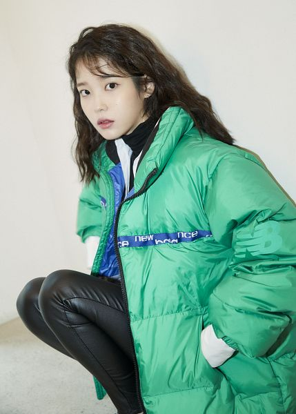 Tags: K-Pop, IU, Serious, Black Pants, Crouching, Hand In Pocket, Leather Pants, Black Eyes, Green Outerwear, New Balance