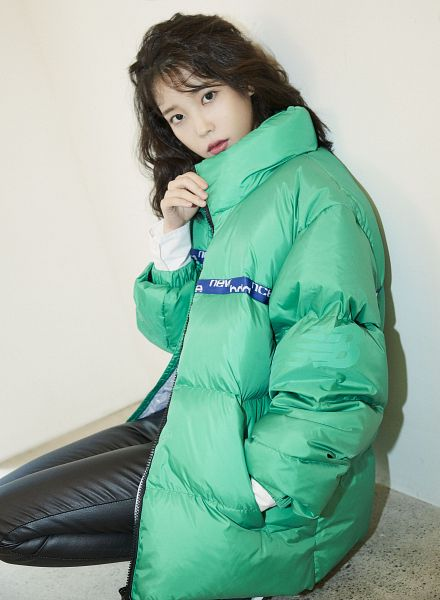 Tags: K-Pop, IU, Green Outerwear, Hand In Pocket, Serious, Leather Pants, Black Pants, New Balance