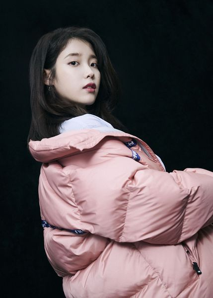 Tags: K-Pop, IU, Serious, Pink Jacket, Dark Background, Black Background, Pink Outerwear, New Balance