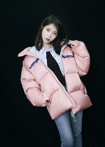Tags: K-Pop, IU, Serious, Pink Jacket, Hand In Pocket, Dark Background, Jeans, Black Background, Pink Outerwear, New Balance