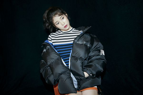 Tags: K-Pop, IU, Hair Up, Ponytail, Serious, Hand In Pocket, Striped, Striped Shirt, Looking Away, Dark Background, Black Jacket, Black Background