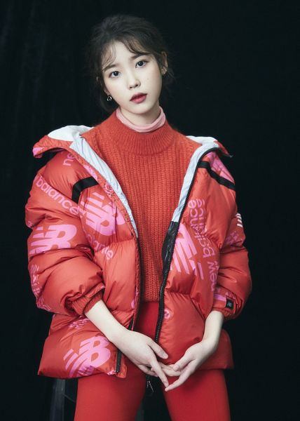 Tags: K-Pop, IU, Red Lips, Red Outerwear, Black Background, Red Jacket, Red Shirt, Red Pants, Dark Background, New Balance