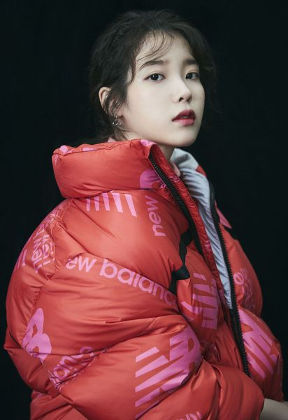 Tags: K-Pop, IU, Red Lips, Red Outerwear, Black Background, Serious, Red Jacket, Dark Background, New Balance