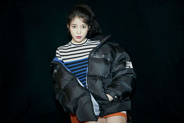 Tags: K-Pop, IU, Serious, Hand In Pocket, Striped, Striped Shirt, Shorts, Dark Background, Black Jacket, Black Background, Hair Up, Ponytail