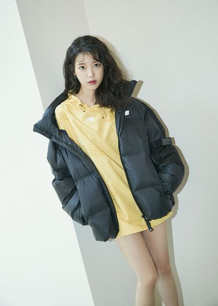 Tags: K-Pop, IU, Serious, Hoodie, Yellow Shirt, Black Jacket, Hand In Pocket, Hood, New Balance