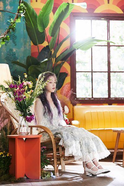 Tags: K-Pop, IU, White Outfit, Vase, Shoes, Plant, Purple Hair, Purple Flower, High Heels, White Dress, Lamp, Chair