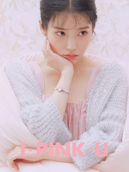 Tags: K-Pop, IU, Facial Mark, Ring, Necklace, Serious, Watch, Pink, Hand On Head, Wristwatch, Pouting, Mole