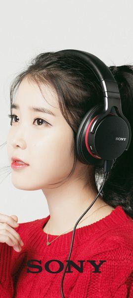 Tags: K-Pop, IU, Red Shirt, Facial Mark, Mole, Headphones, Gray Background, Sony