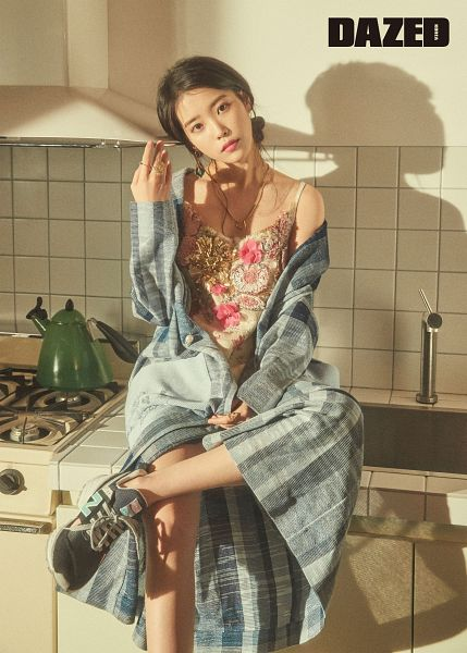 Tags: K-Pop, IU, Shoes, Serious, Kitchen, Text: Magazine Name, Sneakers, Sink, Shadow, Hair Up, Head Tilt, Ring