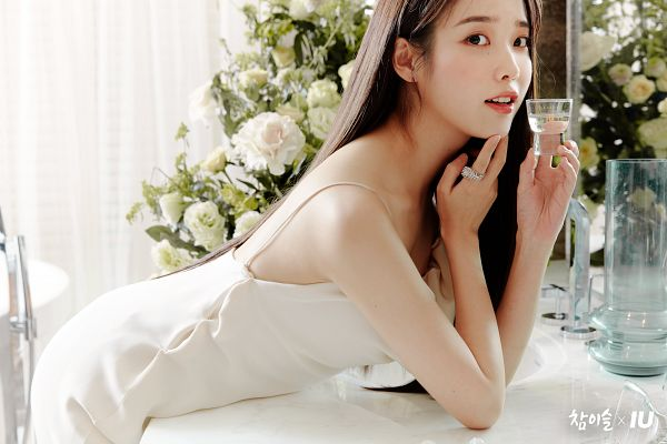 Tags: K-Pop, IU, Flower, Glass, White Outfit, Table, Ring, White Flower, White Dress, Bend Over, Chamisul