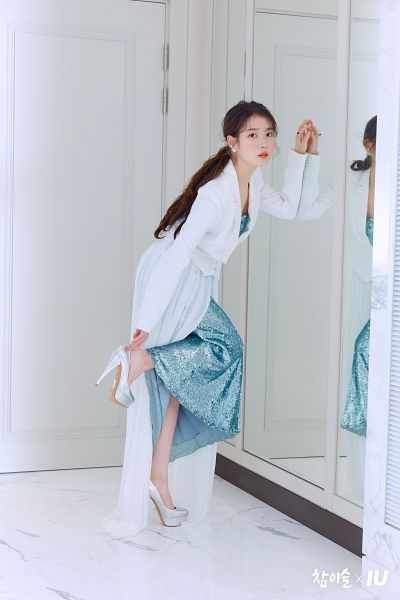 Tags: K-Pop, IU, Mirror, Red Lips, Hair Up, Serious, High Heels, Make Up, Ponytail, Blue Dress, Blush (Make Up), Glass