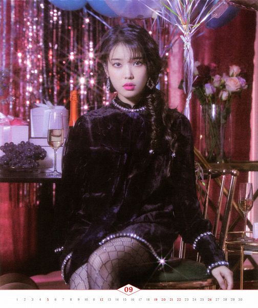 Tags: K-Pop, IU, Grapes, Cup, Braids, Fruits, Black Outfit, Serious, Balloons, Glass (Cup), Black Dress, Rose (flower)