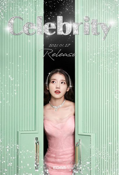 Tags: K-Pop, Celebrity, IU, Pink Outfit, Text: Song Title, Red Lips, Pink Dress, Text: Calendar Date, Door, English Text