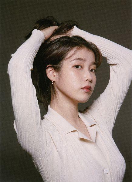 Tags: K-Pop, IU, Brown Background, Serious, Hair Up, Dark Background, Arms Up, Magajieun