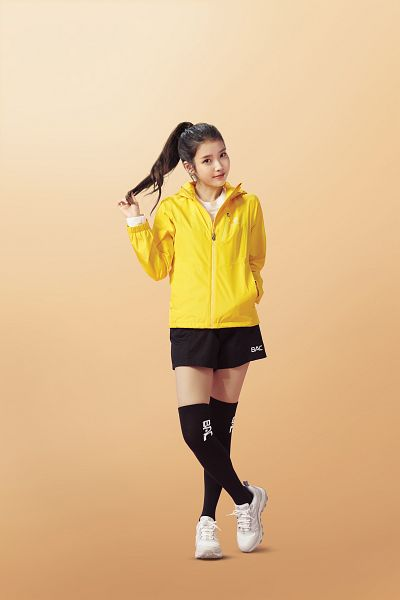 Tags: K-Pop, IU, Orange Background, Crossed Legs (Standing), Hair Up, Yellow Outerwear, Ponytail, BlackYak