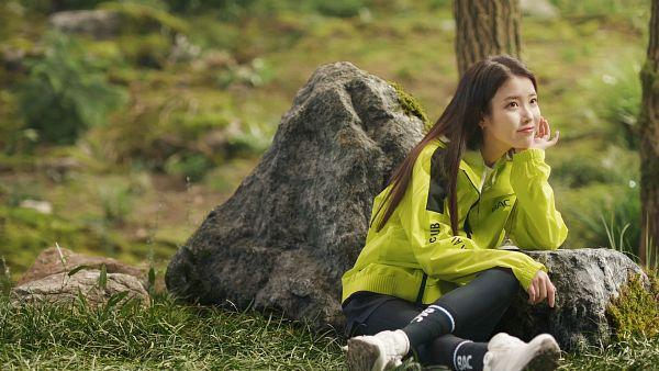Tags: K-Pop, IU, Sitting On Ground, Green Shirt, Rocks, Tree, Grass, BlackYak, HD Wallpaper, Wallpaper