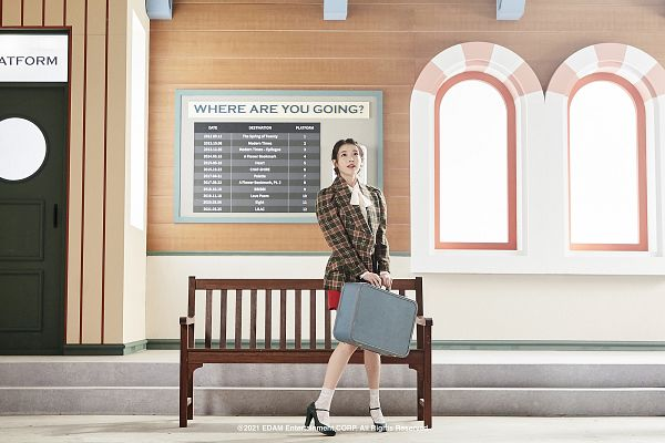 Tags: K-Pop, IU, Door, Red Skirt, Bag, English Text, Checkered, Looking Up, Suitcase, Checkered Jacket, Skirt, Bench