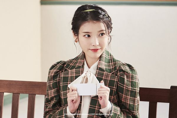 Tags: K-Pop, IU, Bench, Hair Up, Checkered, Red Lips, Checkered Jacket, Sitting On Bench, HD Wallpaper, Wallpaper, Lilac
