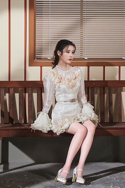 Tags: K-Pop, IU, High Heels, Sitting On Bench, Bench, White Outfit, White Footwear, White Dress, Red Lips, Shoes, Lilac