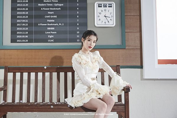 Tags: K-Pop, IU, Bench, White Outfit, English Text, Clock, Red Lips, White Dress, Sitting On Bench, Serious, Lilac, HD Wallpaper