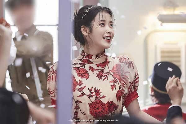 Tags: K-Pop, IU, Hair Up, Confetti, Red Lips, Floral Print, Lilac