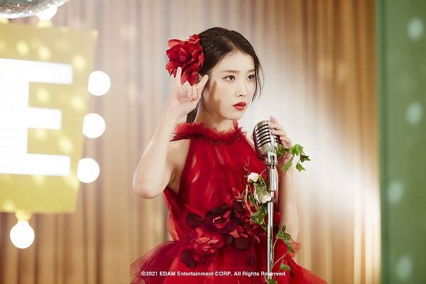 Tags: K-Pop, Coin (IU), IU, Flower, Hair Ornament, Serious, Red Dress, Red Flower, Red Outfit, Hair Flower, Red Lips