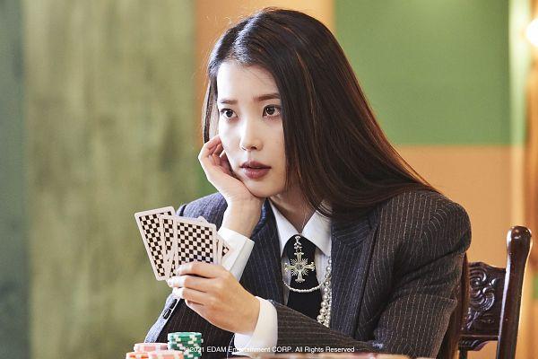 Tags: K-Pop, Coin (IU), IU, Hand On Head, Arm Support, Hand On Cheek, Card, Tie