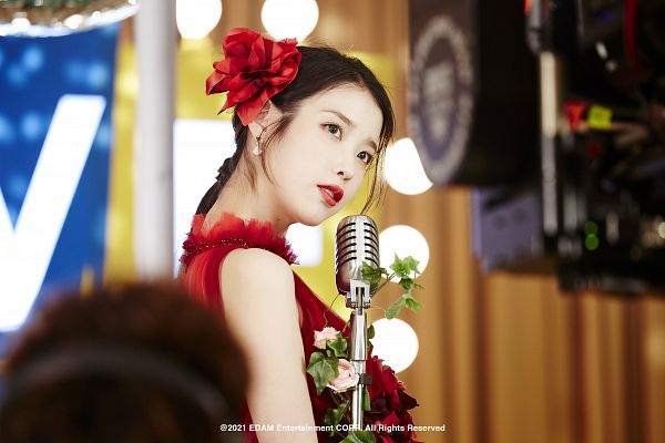 Tags: K-Pop, Coin (IU), IU, Flower, Serious, Red Flower, Red Dress, Head Tilt, Red Outfit, Hair Flower, Hair Ornament, Red Lips
