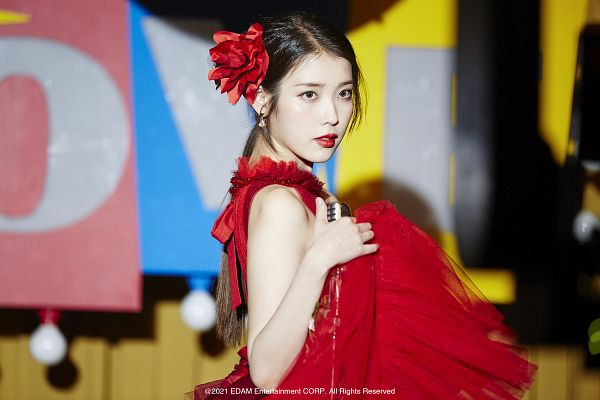 Tags: K-Pop, Coin (IU), IU, Red Outfit, Hair Flower, Red Lips, Flower, Hair Ornament, Serious, Red Dress, Red Flower