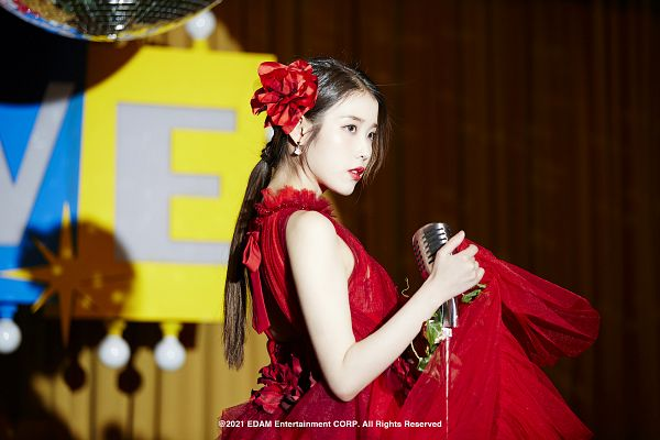 Tags: K-Pop, Coin (IU), IU, Red Dress, Red Flower, Red Outfit, Hair Flower, Red Lips, Flower, Hair Ornament, Serious