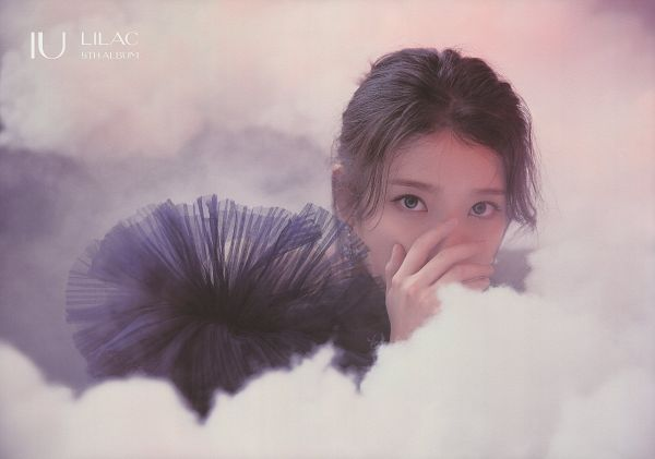 Tags: K-Pop, IU, Hand On Head, Black Dress, Smoke, Covering Mouth, Black Outfit, Serious, Hand On Cheek, Lilac