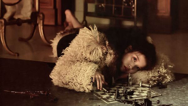 Tags: K-Pop, IU, Barefoot, Serious, Laying Down, Table, Chess, Fur, Laying On Stomach, Fur Trim, Lilac