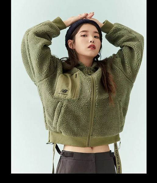 Tags: K-Pop, IU, Hat, Arms Up, Green Outerwear, Serious, Midriff, Navel, New Balance