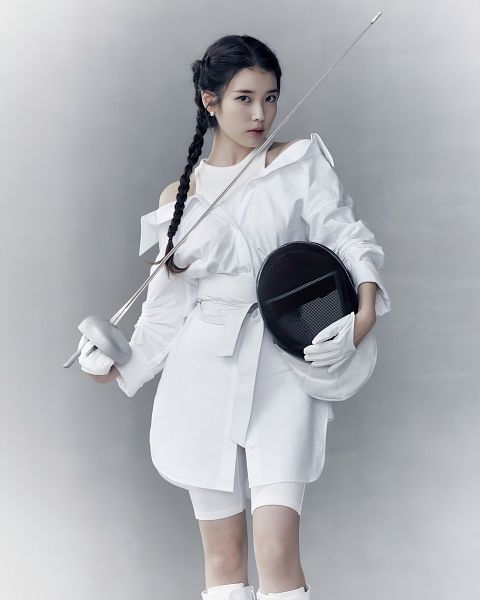 Tags: K-Pop, IU, White Outfit, Fencing, Serious, White Dress, Weapons, Braids, Gloves, Sword, VOGUE Korea, Wavve