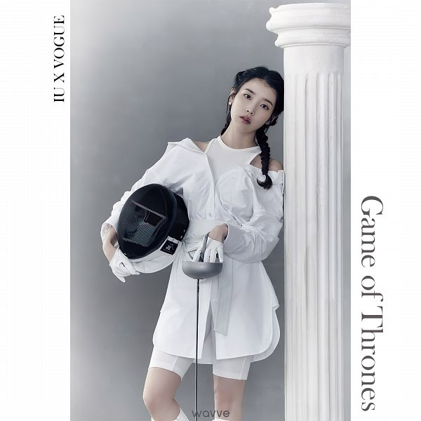 Tags: K-Pop, IU, White Outfit, Fencing, Serious, Twin Braids, Weapons, Braids, White Dress, Sword, Gloves, VOGUE Korea