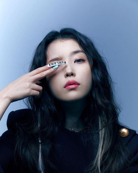 Tags: K-Pop, IU, Long Nails, Nail Polish, Make Up, Covering Eyes, Blue Background, Serious, VOGUE Korea, Magazine Scan