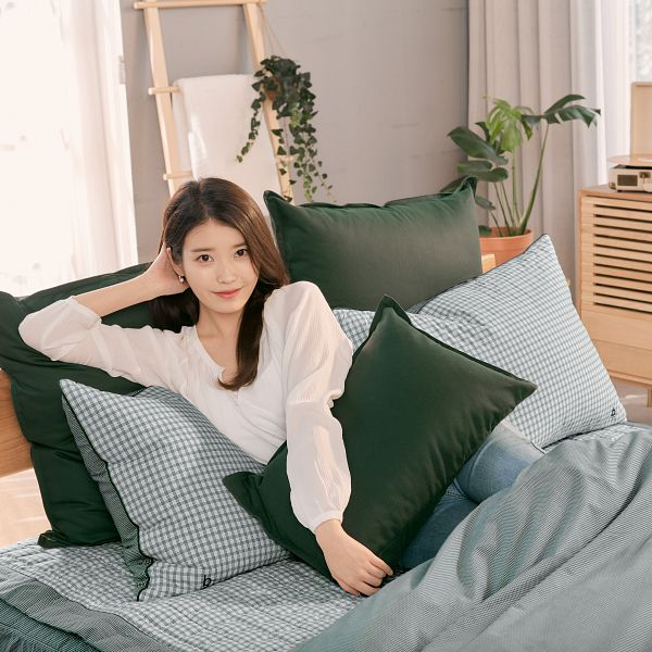Tags: K-Pop, IU, Bed, On Bed, Blanket, Pillow, Plant, Evezary