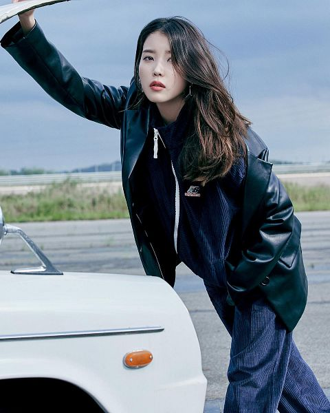 Tags: K-Pop, IU, Jumpsuit, Road, Car, Leather Jacket, Serious, Outdoors, New Balance