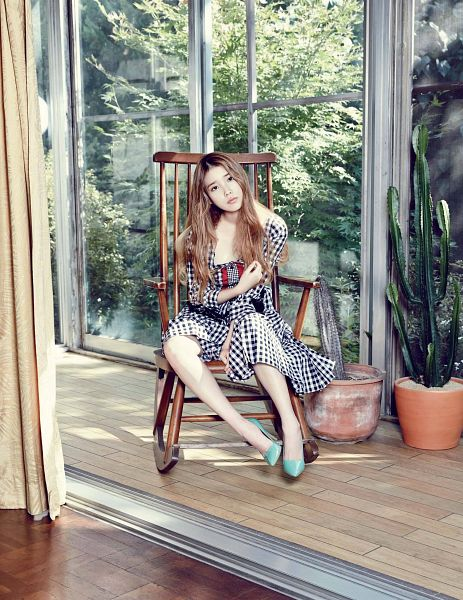Tags: K-Pop, IU, White Dress, Sitting On Chair, White Outfit, Cactus, High Heels, Plant, Black Outfit, Green Footwear, Chair, Checkered Dress