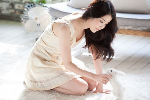 Tags: K-Pop, Good Day, IU, Stuffed Animal, Sleeveless, Bare Shoulders, Rabbit, Kneeling, Bare Legs, Full Body, Sleeveless Dress, White Dress