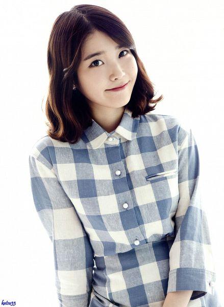 Tags: K-Pop, IU, Mole, Medium Hair, Checkered, Facial Mark, Checkered Shirt, Light Background, Gray Shirt, White Background, Android/iPhone Wallpaper