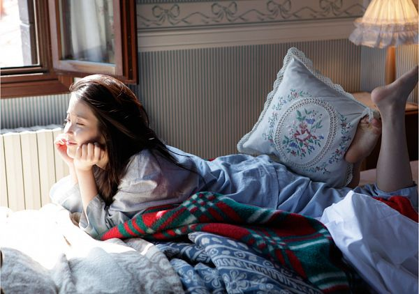 Tags: K-Pop, IU, Blue Shirt, Barefoot, On Bed, Laying Down, Blue Pants, Laying On Stomach, Eyes Closed, Bed, Hand On Cheek, Lamp