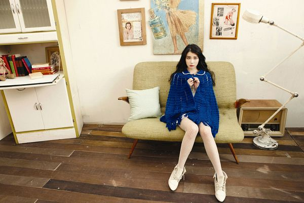 Tags: K-Pop, IU, Couch, White Footwear, Sneakers, Bare Legs, Fishnets, Lamp, Blue Jacket, Sitting On Couch, Blue Outerwear, Shoes
