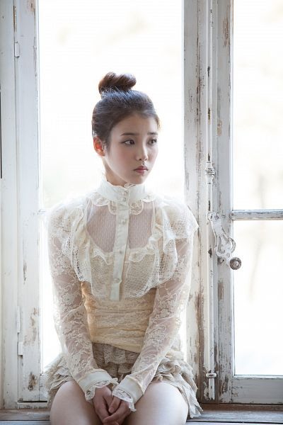 Tags: K-Pop, Good Day, IU, Clasped Hands, Window, Bare Legs, Frown, Looking Away, Single Bun, Skirt, Brown Skirt, Android/iPhone Wallpaper