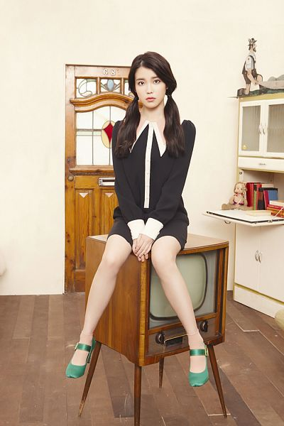 Tags: K-Pop, IU, High Heels, Bare Legs, White Background, Green Footwear, Door, Black Dress, Socks, Television, Twin Tails, Clasped Hands