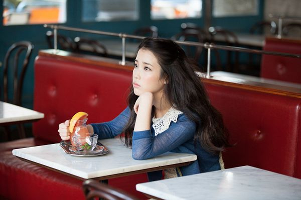 Tags: K-Pop, Good Day, IU, Couch, Blue Shirt, Sitting On Couch, Looking Ahead