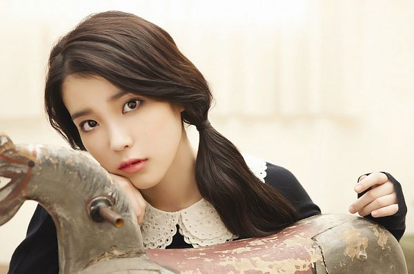 Tags: K-Pop, IU, Twin Tails, Black Outfit, Light Background, White Background, Black Dress, Last Fantasy